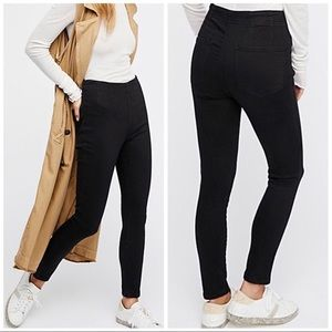 Free People black hi waisted pull on pants jeans